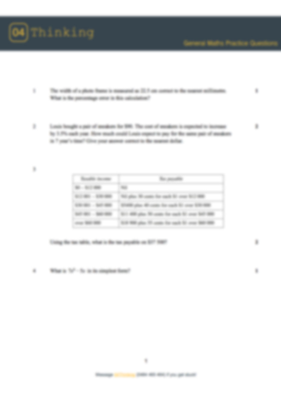 HSC 2016 Practice General Maths Paper with worked answer